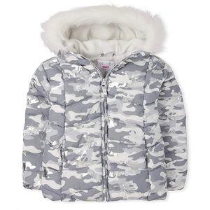 NWT • Children's Place Girls Foil Camo Jacket 5/6